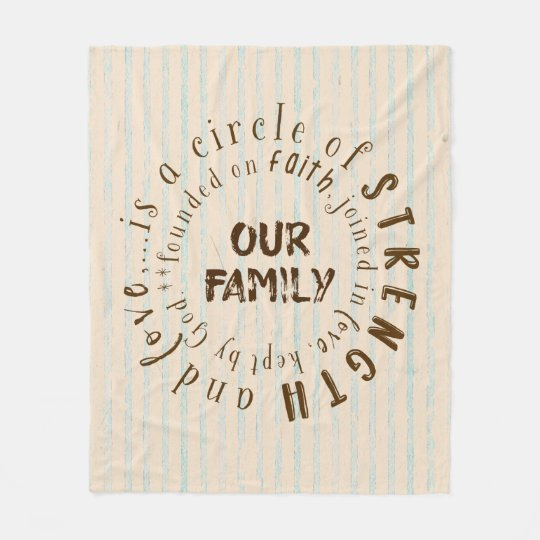 Family and Faith Circle Quote Fleece Blanket