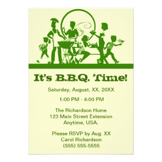 Family At A Barbecue Cook Out Green And Cream Custom Announcement