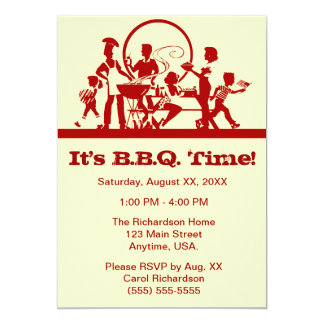 Family At A Barbecue Cook Out Red And Cream Card
