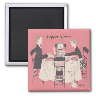 family at the table, Supper Time! Magnet