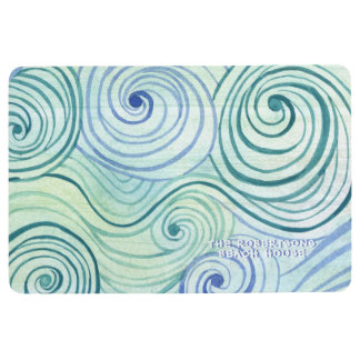 Family Beach House Modern Watercolor Wave Swirls Floor Mat