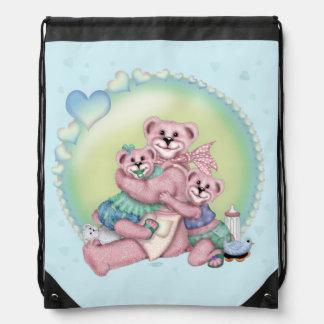 FAMILY BEAR LOVE CARTOON Drawstring Backpack 2