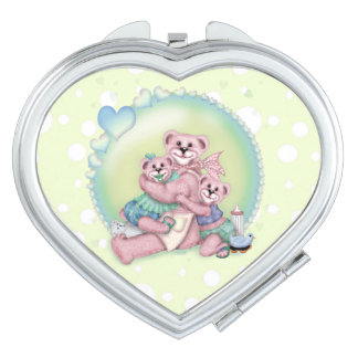 FAMILY BEAR LOVE compact mirror Heart