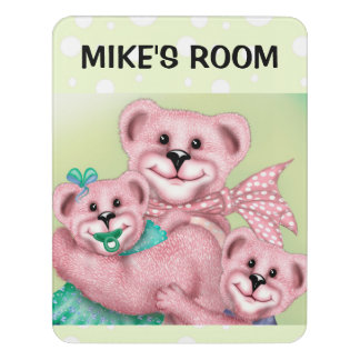 FAMILY BEARS DOOR SIGN Modern Room Sign Vertical