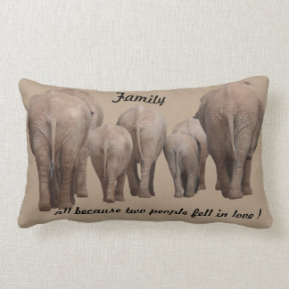 FAmily  because 2 people fell in love Elephant Lumbar Pillow
