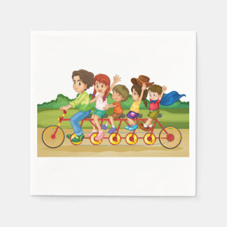 Family Bike Ride Paper Napkins