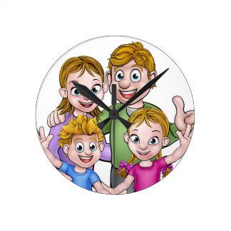 Family Cartoon Characters Round Clock