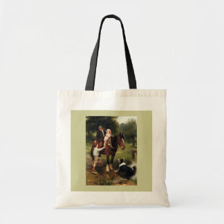 family children collie dog horse boy girl budget tote bag