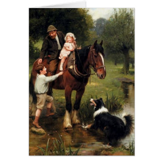 family children collie dog horse boy girl greeting card