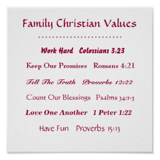 Family Christian Values Bible Passages Poster