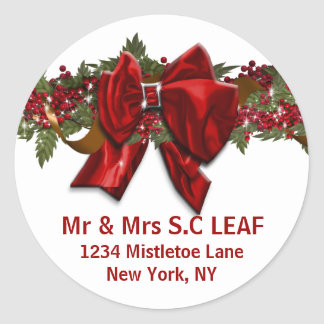 Family Christmas address seals PERSONALIZE Round Stickers