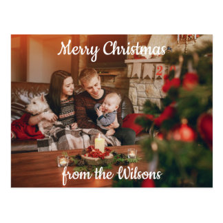Family Christmas Greeting Postcard