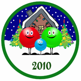 Family Christmas Ornament 2010 Photo Cut Outs