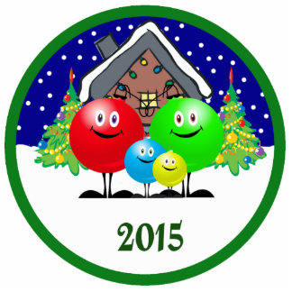 Family Christmas Ornament 2015 Photo Cut Outs