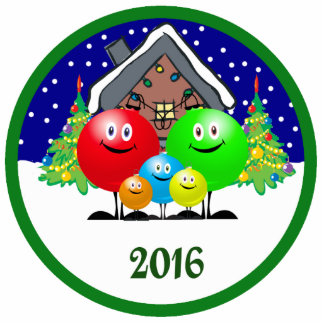 Family Christmas Ornament 2016 Acrylic Cut Out