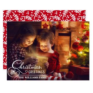 Family Christmas Photo White Overlay Script Card