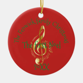Family Christmas The First Noel Ceramic Ornament