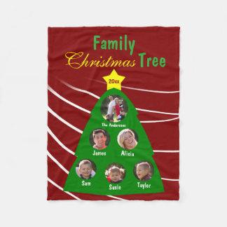 Family Christmas Tree Keepsake Custom Photo Fleece Blanket