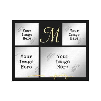Family Collage-Gold (choose background color) Canvas Print