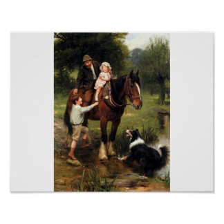 Family Collie Dog Children Horse Antique painting Poster