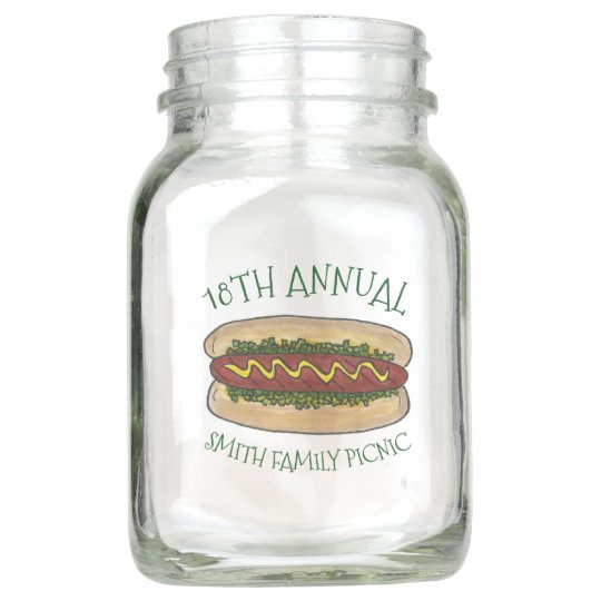 Family Cookout Picnic BBQ Reunion Hot Dog Relish Mason Jar