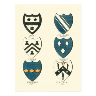 Family Crests of Various English Houses Postcard