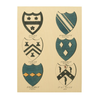 Family Crests of Various English Houses Wood Print