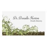 Family Dentist Business Card Green Elegant Floral