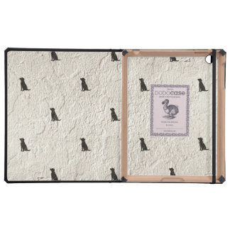 Family Dog Silhouette Tiled on Stucco Background iPad Case