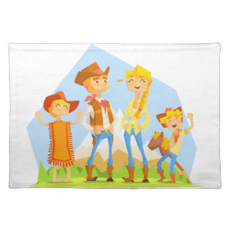 Family Dressed As Cowboys With Mountain Landscape Placemat