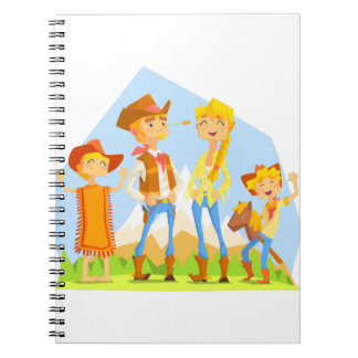 Family Dressed As Cowboys With Mountain Landscape Spiral Notebook