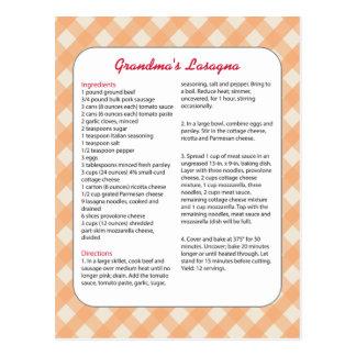 Family Favorite Recipe Retro - Lasagna Postcard