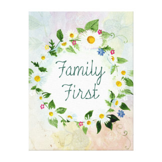 Family First Inspirational Quote Canvas Print