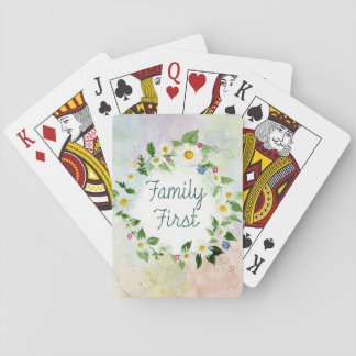Family First Inspirational Quote Playing Cards