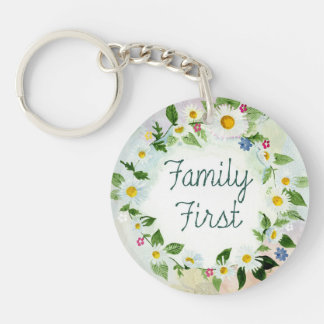 Family First Inspirational Quote Single-Sided Round Acrylic Key Ring