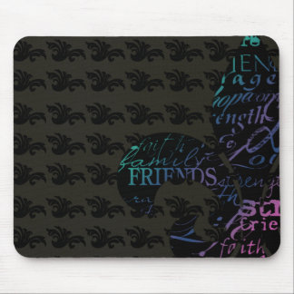 Family Friends Life Love Faith Fleur de Lis Mouse Pad