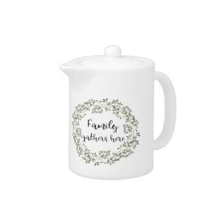 """""""Family gathers here"""" Farmhouse Style Tea Pot"""