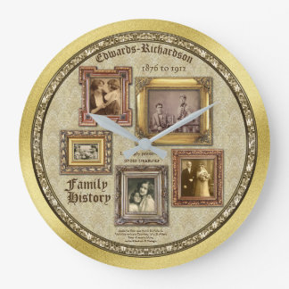 Family History Antique Photo Frames Gold Collage Large Clock