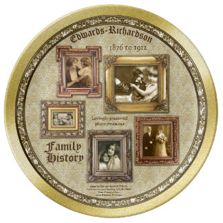 Family History Antique Photo Frames Gold Collage Porcelain Plates