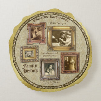 Family History Antique Photo Frames Gold Collage Round Cushion