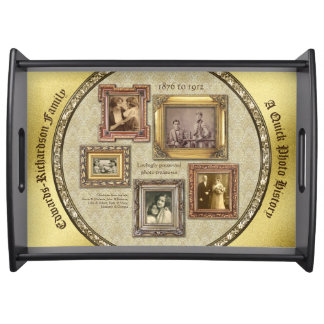 Family History Antique Photo Frames Gold Collage Serving Tray