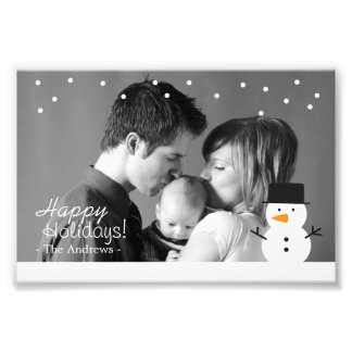 Family Holiday Greeting with Cute Snowman and Snow Art Photo