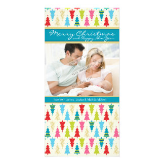 FAMILY HOLIDAY PHOTOCARD :: patternedxmastree 1P Customised Photo Card