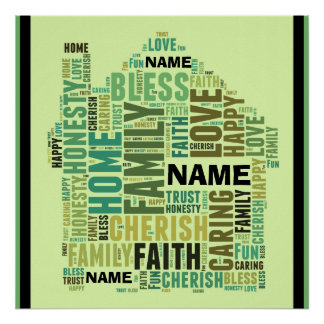 Family Home Customize Add Names Personalize word Poster