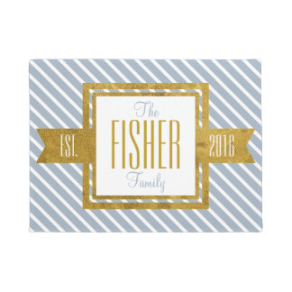 Family Home Established Year Gold and Blue Stripes Doormat