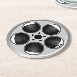 Family Home Theater Movie Film Reel Round Paper Coaster