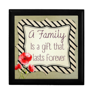 Family Inspirational Quote Large Square Gift Box