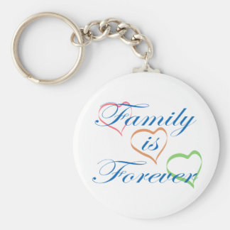 Family is Forever Basic Round Button Key Ring