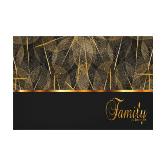 Family is Forever on Black and Gold Leaf Veins Gallery Wrap Canvas