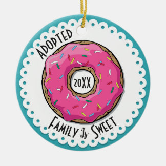 Family is Sweet Adopted Donut Dated Photo Ceramic Ornament